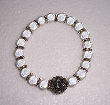 White Miracle Bead Stretch Bracelet with Disco Bead Fashion Jools Handmade
