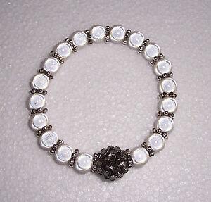 White Miracle Bead Stretch Bracelet with Disco Bead Fashion Jools Handmade