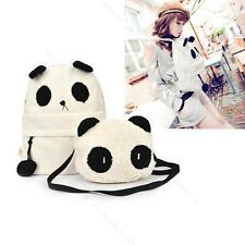 1XGIRL Canvas White Panda Shoulder School Bag BookBag Rucksack Backpack Handbag