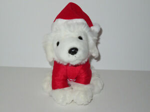 Disney Santa Paws Santa Buddies Plush Puppy Dog Stuffed Animal White Red Stripes