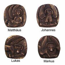 Bronze Relief 4 Evangelist Markus Lukas Matthäus Johannes Symbol 14 cm * 14 cm