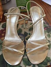 ALDO gold leather strapped open toe foot prom party heels shoes Sz 38 7.5