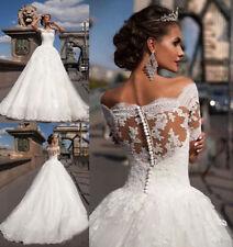 2017 Neu Kurzarm Spitze Brautkleider Hochzeitskleid Ballkleid Gr: 34 - 48