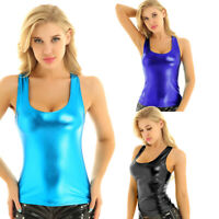 Women Shiny Metallic Sleeveless Crop Top T-shirt Blouse Cami Tank Top Vest Shirt