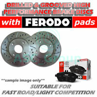 Front Drilled and Grooved 330mm 5 Stud Vented Brake Discs with Ferodo Pads