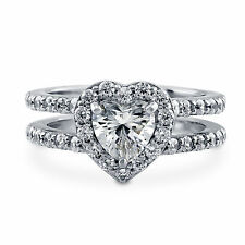 1.76ct Diamond Engagement Rings  14k White Gold Heart Shape VVS1/D Size N