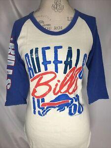 Buffalo Bills NFL Junk Food Raglan Baseball Tee Women's T-Shirt MEDIUM