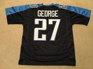 UNSIGNED CUSTOM Sewn Stitched Eddie George Blue Jersey - M, L, XL, 2XL