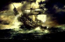 Stampa incorniciata-Meteo battered vela nave pirata alto mare (PICTURE POSTER