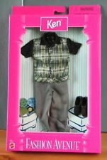 BARBIE Fashion Avenue KEN Clothing *Green Plaid Shirt+Gray Pants* In Pack