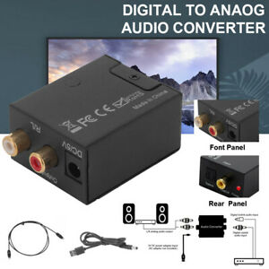 Digital Optical Coaxial Toslink To Analog RCA L/R Audio Sound Adapter Converter