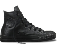Converse Chuck Hi Leather - Black Monochrome Size 6