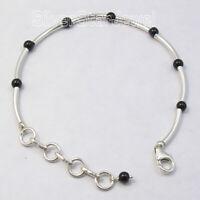 """925 Sterling Silver Black Onyx 3.2 tcw Chain Bracelet 7.7"""" Ladies Gems Jewelry"""