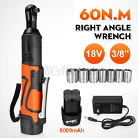 18V 60Nm 3/8'' Cordless Ratchet Wrench Set 8000mAh Battery Charger w/ 7 Sockets