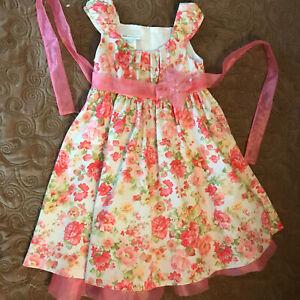 Bonnie Jean Pink Floral Formal Dress - Girls Size 5 - Stunning!