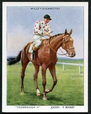 1939 Wills Cigarette Card - Racehorses & Jockeys 1938 No12 'Foxbrough II'