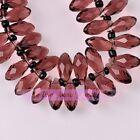 New 10pcs 16X8mm Teardrop Faceted Charm Fuchsia Loose Pendant Glass Beads