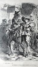 GRAVURE ANCIENNE 19e -  BOURGEOIS DE PARIS ALLANT COMBATTRE POUR LA FRONDE