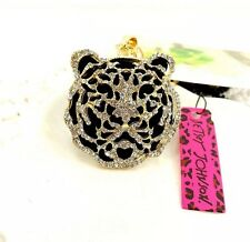 Cute NWT Betsey Johnson Necklace Gold Crystal Black Cut Out Tiger