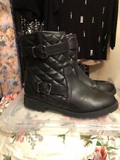 Womens Size 3 Black Ankle Boots Faux Leather, Biker Style, Wide Fit