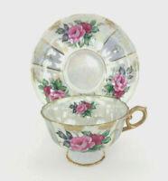 vintage porcelain lusterware cup & saucer Japan pink purple flowers