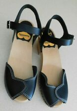 Toffel Hasbeens Sandals Swedish Black Leather Ankle Strap Peep Toe Size 38