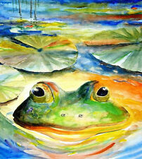 Green Bull Frog 8X10 Best Watercolor Picture Lake Decor art print Barry Singer