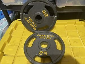 "VINTAGE 25 Lb Golds Gym 2"" Olympic Grip Weight Plates Set Of 2 - 50 lb Total"