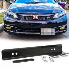 Black Front Bumper JDM License Plate Mounting Bracket Relocator For Honda Civic