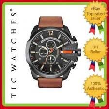 Braune Quarz-Armbanduhren (Batterie) mit Armband aus echtem Leder