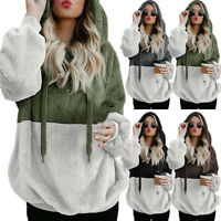 Women Oversized Hooded Soft Velvet Sweatshirt Hoodie Pullover Coat Jacket Winter