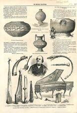 Conservatoire de Musique de Paris Castagnettes Piano Oliphau Harpe GRAVURE 1866