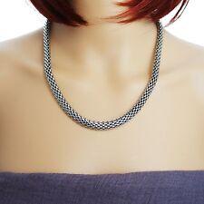 Damen Halskette Edelstahl Schlangenkette Kette Collier leicht 50 cm 8 mm silber