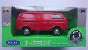 WELLY VW VOLKSWAGEN T3 VAN TRANSPORTER RED 1:34 DIE CAST METAL MODEL NEW