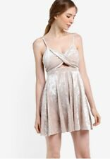 Miss Selfridge Nude Velour Strappy Skater Dress Size 8 Petite