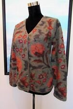 PERUVIAN CONNECTION Green Floral Alpaca Wool Cardigan Sweater Sz M