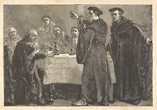 C5196 Lutero sostiene la dottrina della presenza del Pane - Xilografia d'epoca