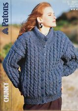 "Patons Knitting Pattern Cable Jacket Cardigan Ladies 32-42"" Chunky 8627 Vintage"