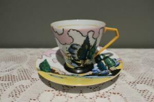 Vintage Art Deco Cup & Saucer - Hand painted - Japan - Tall Trees - Gc