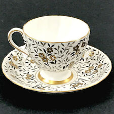 Tuscan English BONE CHINA Teacup and Saucer Gray and Gold Floral