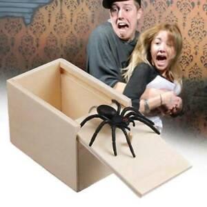 Spinne in einer Box Streich Spielzeug Holz Halloween Weihnachten Requisiten X1