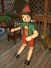 """Vtg Handcrafted Hand Painted Wood Carved Pinocchio Marionette Puppet 38"""" Tall"""