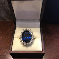 14K White Gold Rings 4.40 Ct Oval Natural Blue Sapphire Diamond Engagement Ring