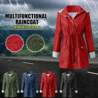 Women Rain Jacket Outdoor Plus Size Waterproof Hooded Windproof Loose Coat Tunic