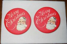 2  Vintage Hallmark MERRY CHRISTMAS with Santa Claus Red Fabric Button/Pins USA