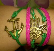 NEW HOT Charm Handmade Palm anchor cute Bronze Leather GREEN ROSE Bracelet