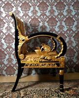 PROMO: fauteuil en bois massif style baroque doré à feuille d'or d'un château