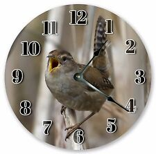 "10.5"" MARSH WREN BIRD CLOCK - Large 10.5"" Wall Clock - Home Décor Clock - 3120"