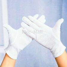 12 Pairs White Cotton Gloves Moisturising Health Industrial Work Hand Protection