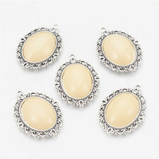 5 x AntiqueWhite Vintage Antique Silver Tone Alloy Resin Oval Pendants 39x28x8mm